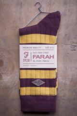 Mens 1 Pair Farah 1920 Cotton Chunky Ribbed Leisure Boot Socks Product Shot