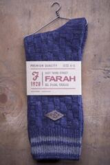 Mens 1 Pair Farah 1920 Cotton Basket Weave Effect Chunky Boot Socks Product Shot