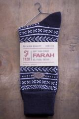 Mens 1 Pair Farah 1920 Wool Mix Fairisle Boot Socks with Turn Over Top Packaging Image