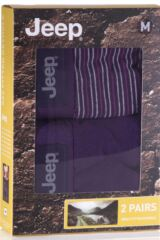 Mens 2 Pack Jeep Dual Fine Stripe and Plain Hipster Trunks Product Shot