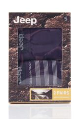 Mens 2 Pack Jeep Tonal Stripe and Plain Hipster Trunks Packaging Image