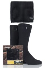 Mens 3 Pack Jeep Gift Boxed Ribbed Scarf and Socks