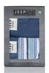 Mens 2 Pack Jeep Spirit Stripe and Plain Cotton Rich Keyhole Trunks Packaging Image