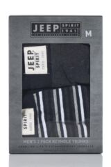 Mens 2 Pack Jeep Spirit Multi Stripe and Plain Cotton Rich Keyhole Trunks Packaging Image