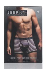 Mens 2 Pack Jeep Spirit Varried Stripe and Plain Cotton Rich Keyhole Trunks Product Shot