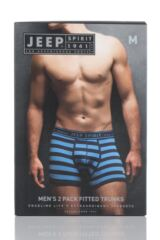 Mens 2 Pack Jeep Spirit Wide Stripe and Plain Cotton Rich Trunks Packaging Image