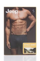Mens 2 Pack Jeep Cotton Plain Fitted Key Hole Trunk Boxer Shorts Packaging Image