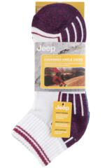 Ladies 3 Pair Jeep Cushioned Cotton Ankle Socks Packaging Image