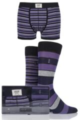 Mens 3 Pack Jeep Spirit Gift Boxed Mixed Striped Trunks and Socks