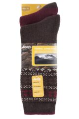 Mens 2 Pair Jeep Wool Blend Winter Fair Isle Socks Product Shot