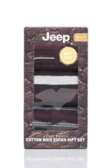 Mens 3 Pair Jeep Cotton Thick Stripe Gift Set Socks Packaging Image