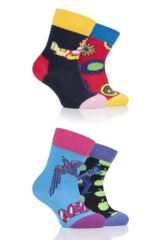 Happy Socks Baby and Kids 4 Pair Beatles 50th Anniversary Yellow Submarine EP Collectors Gift Boxed Socks Leading Image