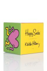 Mens and Ladies 3 Pair Happy Socks Keith Haring Socks in Gift Box Product Shot