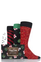 Mens and Ladies 3 Pair Happy Socks Christmas Combed Cotton Socks In Singing Gift Box