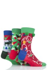 Mens and Ladies 3 Pair Happy Socks Christmas Socks in Gift Box Leading Image