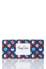 Mens and Ladies 4 Pair Happy Socks Navy and Blue Mix Socks in Gift Box Packaging Image