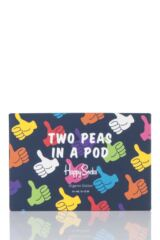 Parent and Baby 2 Pair Happy Socks Thumbs Up Matching Two Peas In A Pod Socks In Gift Box Packaging Image