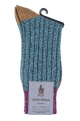Ladies 1 Pair Scott Nichol Moseley Contrast Heel and Toe Wool Socks Product Shot