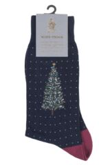 Mens 1 Pair Scott Nichol Christmas Tree Cotton Socks Packaging Image