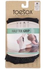 Mens and Ladies 1 Pair ToeSox Half Toe Organic Cotton Ankle Yoga Socks In Black Product Shot