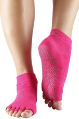 Ladies 1 Pair ToeSox Half Toe Organic Cotton Ankle Yoga Socks In Fuchsia