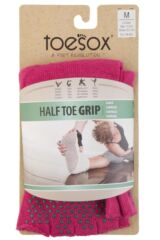 Ladies 1 Pair ToeSox Half Toe Organic Cotton Ankle Yoga Socks In Fuchsia Packaging Image