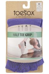 Mens and Ladies 1 Pair ToeSox Half Toe Organic Cotton Ankle Yoga Socks In Light Purple Packaging Image
