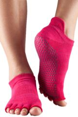 Ladies 1 Pair ToeSox Half Toe Organic Cotton Low Rise Yoga Socks In Fuchsia