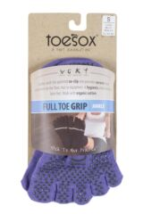 Mens and Ladies 1 Pair ToeSox Full Toe Organic Cotton Ankle Yoga Socks In Light Purple Product Shot