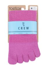 Ladies 1 Pair ToeSox Full Toe Casual Crew Socks Packaging Image