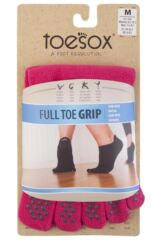 Ladies 1 Pair ToeSox Full Toe Organic Cotton Low Rise Yoga Socks In Fuchsia Product Shot
