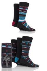 Mens 5 Pair Jeff Banks Fairisle Stripe and Plain Cotton Socks In Gift Box