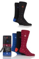 Mens 5 Pair Jeff Banks Dots and Plain Cotton Socks In Gift Box
