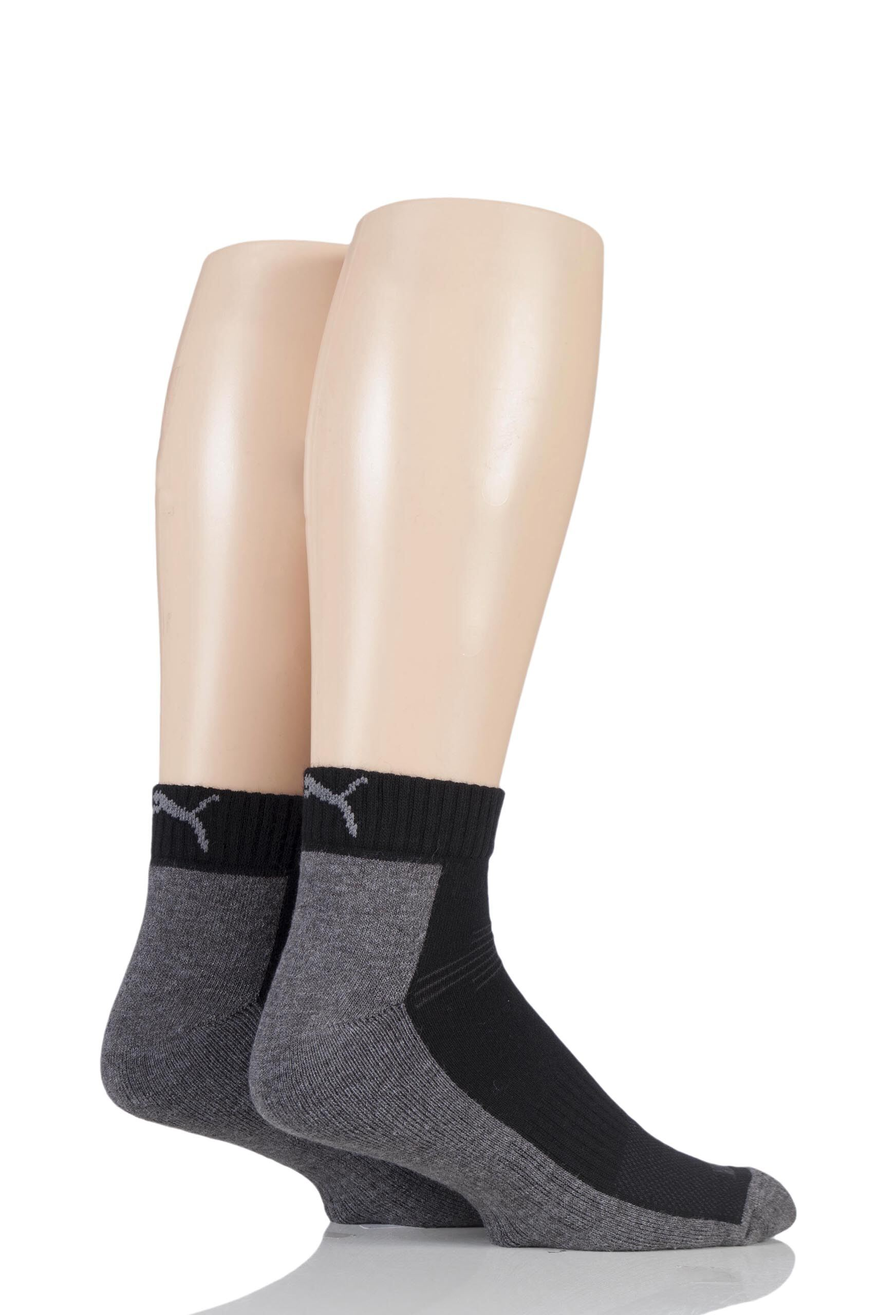 Image of 2 Pair Grey Coolmax Technical Quarter Length Socks Unisex 9-11 Unisex - Puma