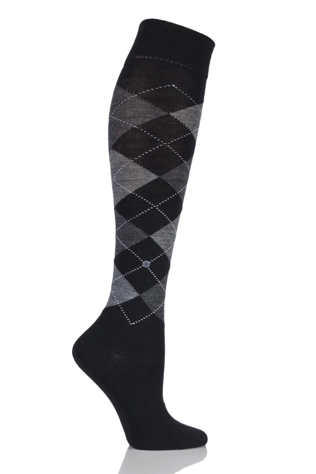1 Pair Marylebone Argyle Wool Knee High Socks Ladies - Burlington