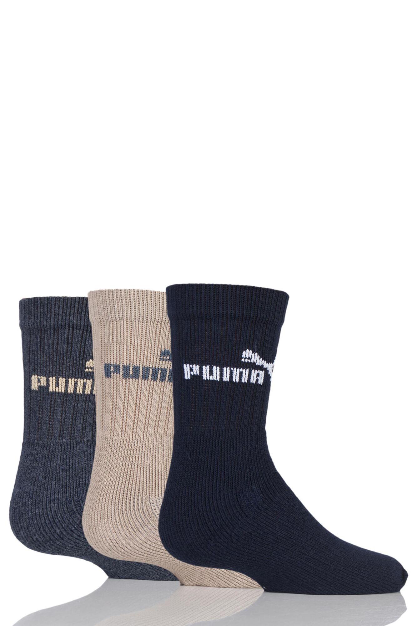3 Pair Plain Crew Sports Socks Kids Unisex - Puma