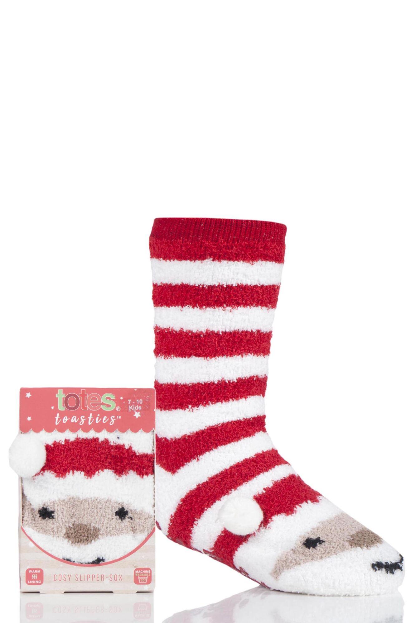 1 Pair Chunky Christmas Novelty Slipper Socks Kids Unisex - Totes