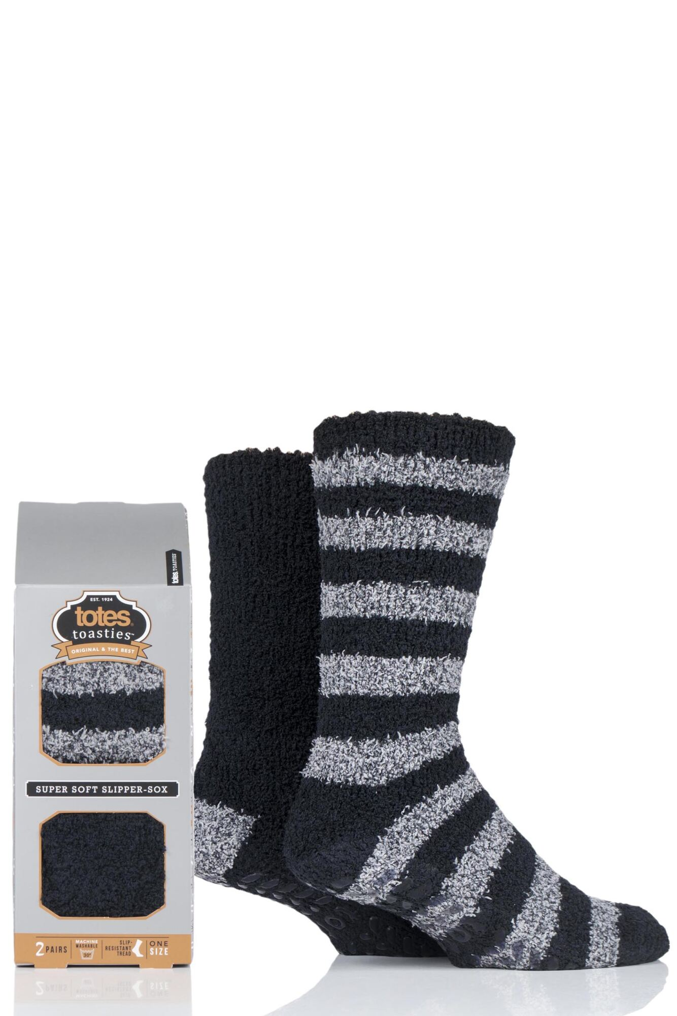 2 Pair Twin Super Soft Stripe and Plain Bed Socks Men's - Totes