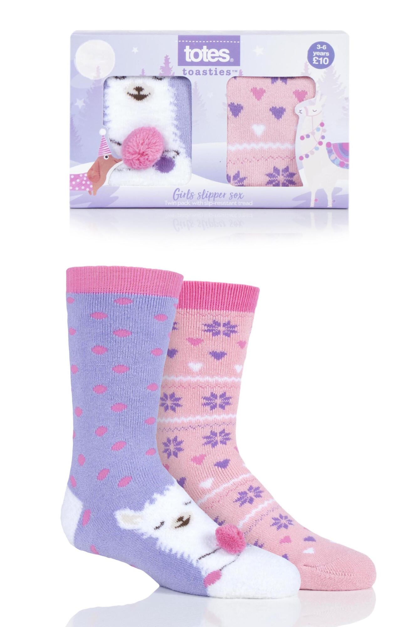 2 Pair Originals Novelty Slipper Socks Girls - Totes