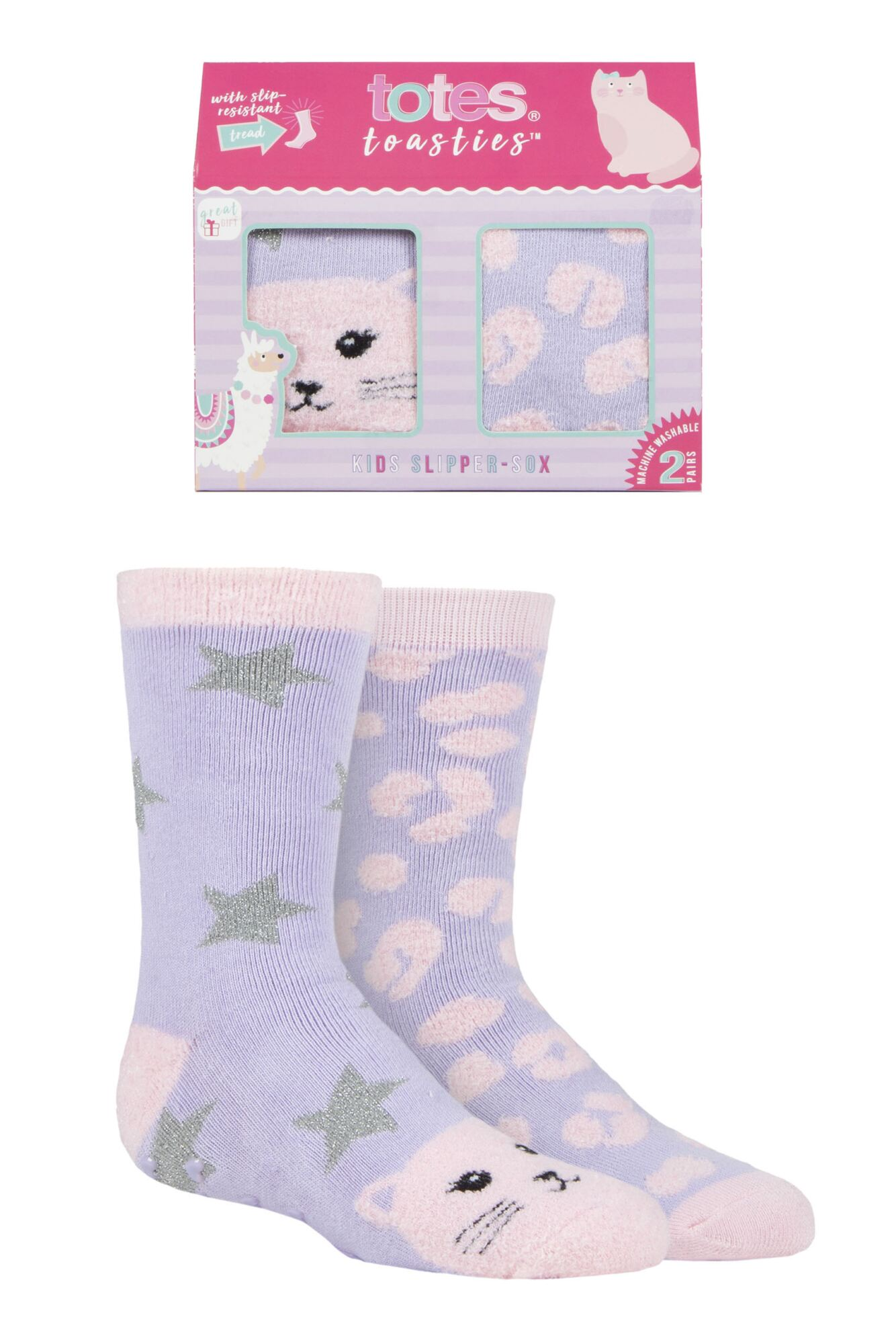 2 Pair Originals Novelty Slipper Socks Girls - Totes