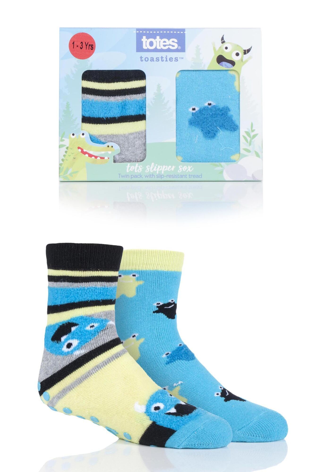 2 Pair Tots Originals Novelty Slipper Socks Boys - Totes