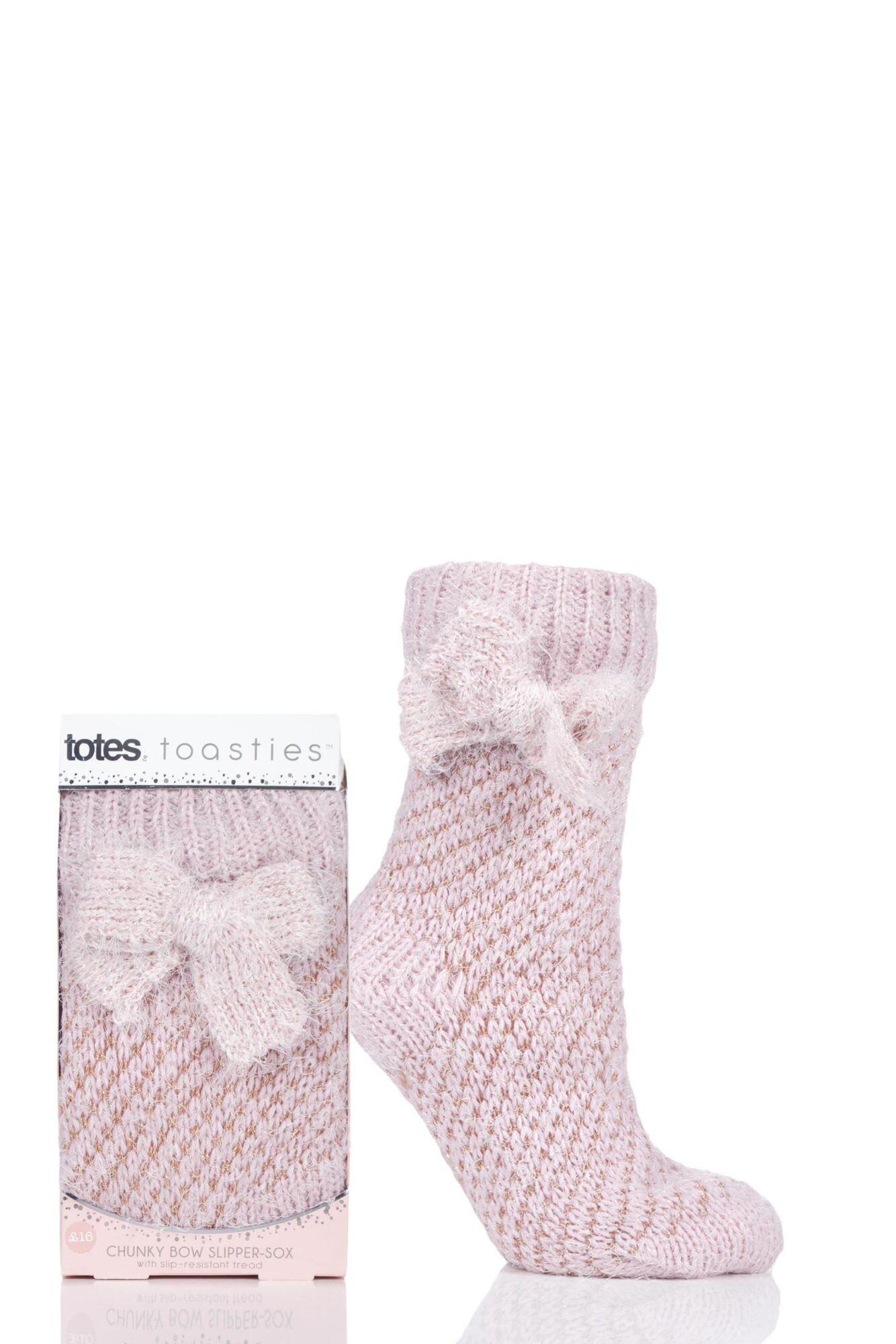 1 Pair Bow Sparkle Chunky Knit Socks Ladies - Totes