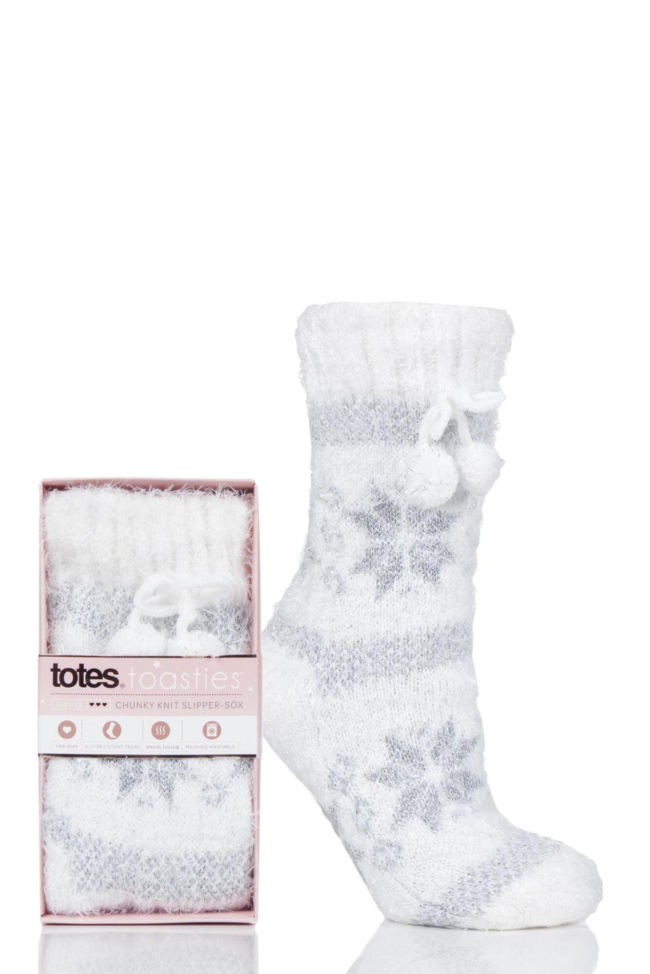 1 Pair Fleece Lined Chunky Socks Ladies - Totes
