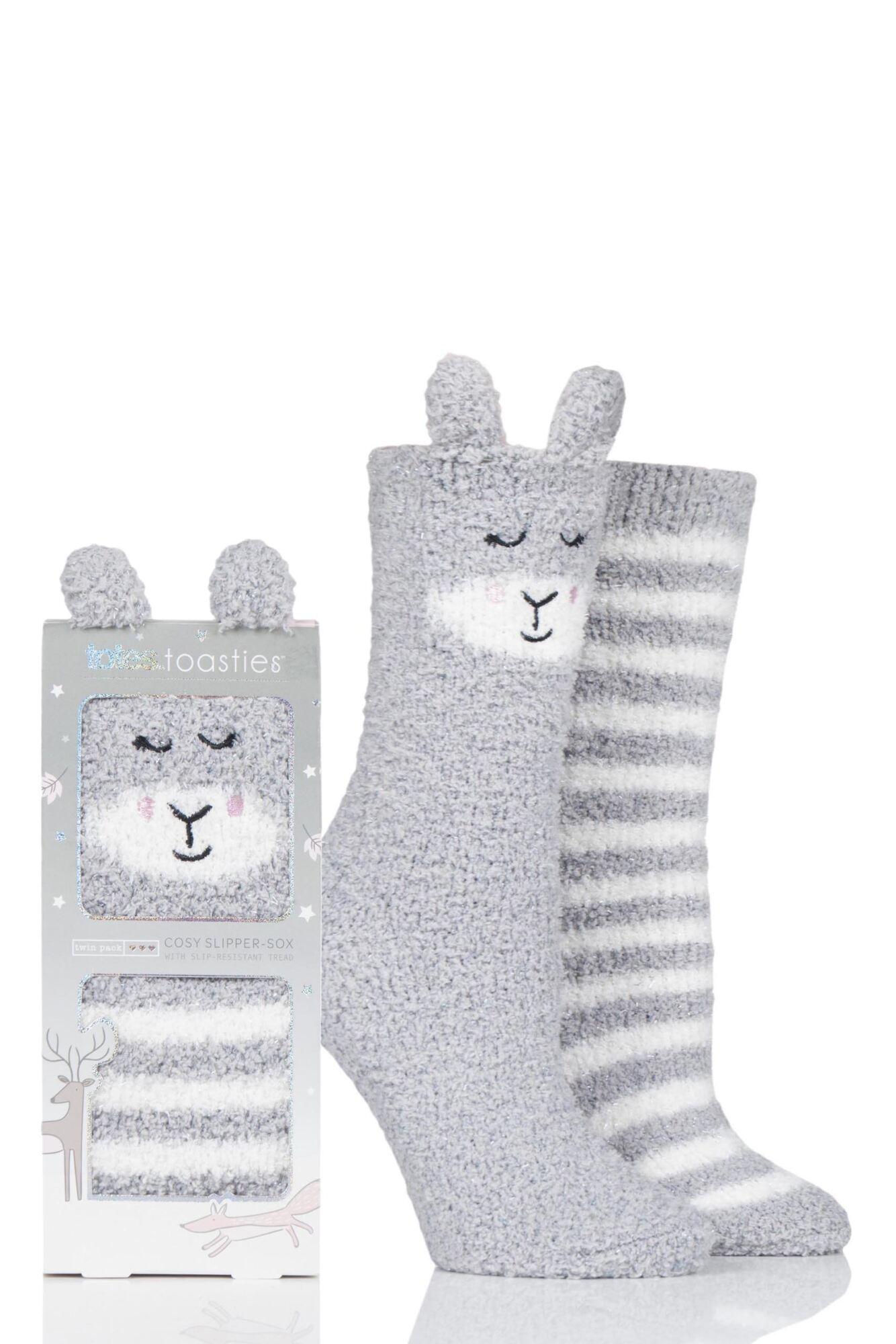 2 Pair Cosy Animal Striped Socks Ladies - Totes