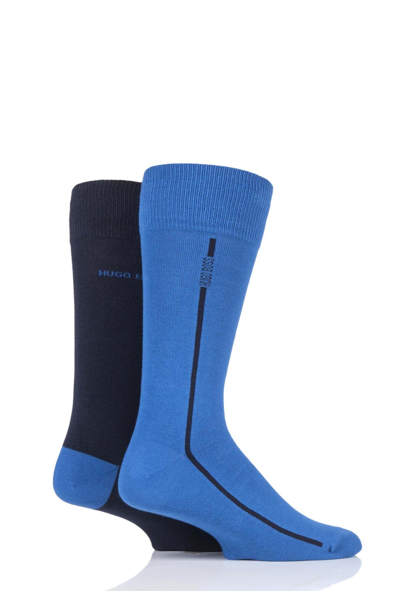 2 Pair Boss Logo Stripe Combed Cotton Socks Men's - Hugo Boss