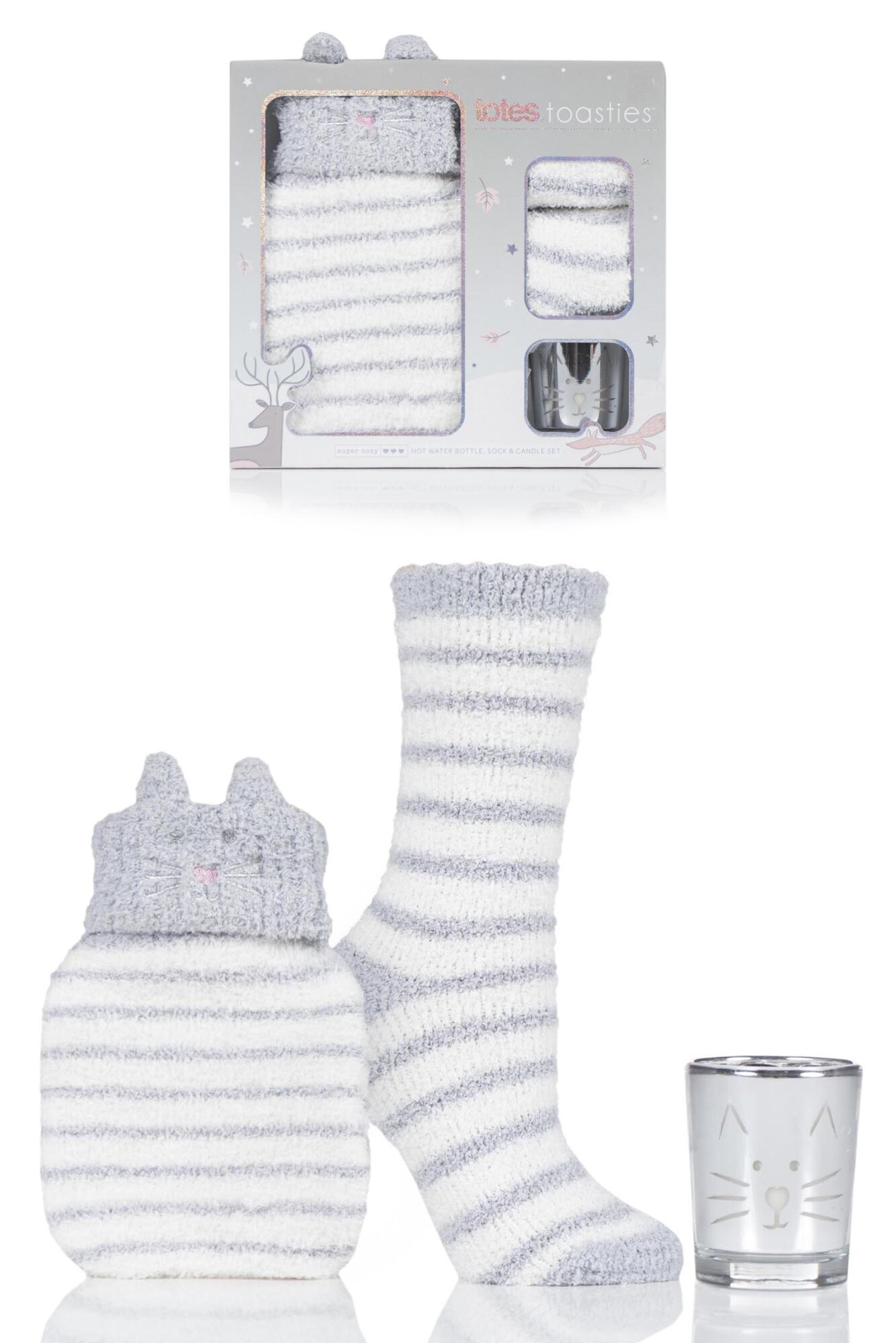 1 Pair Super Soft Bed Socks with Hot Water Bottle and Candle Gift Set Ladies - Totes