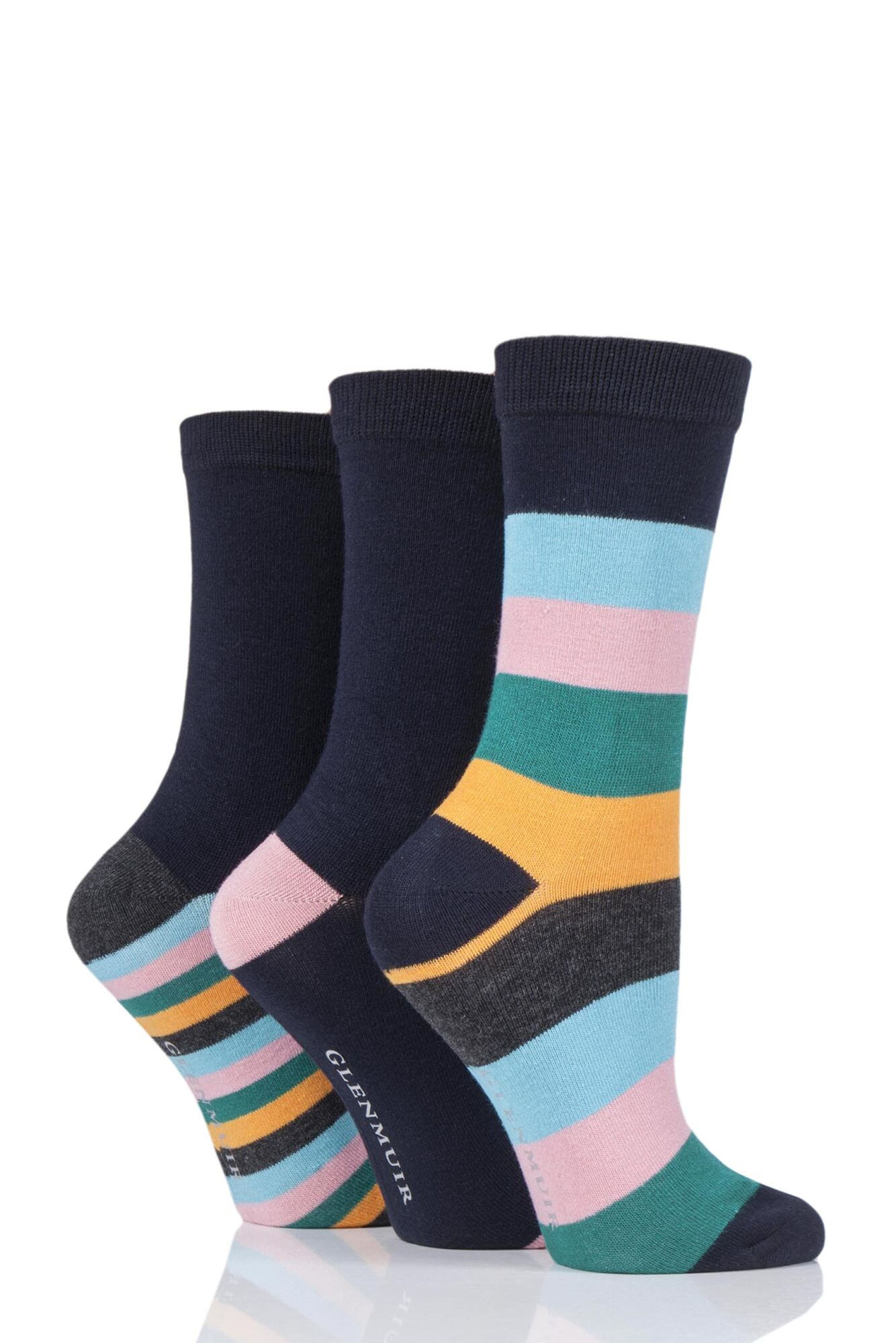 3 Pair Mixed Stripe Bamboo Socks Ladies - Glenmuir