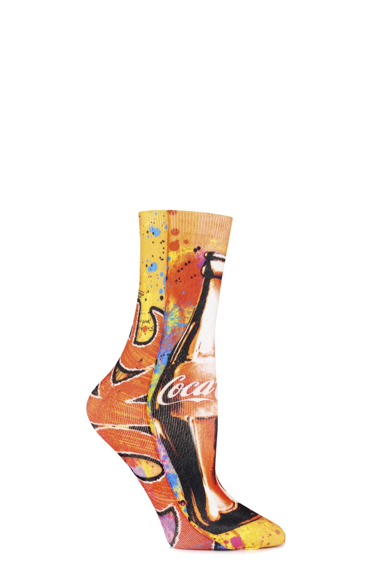 1 Pair Graffiti Bottle Printed Socks Ladies - Coca Cola