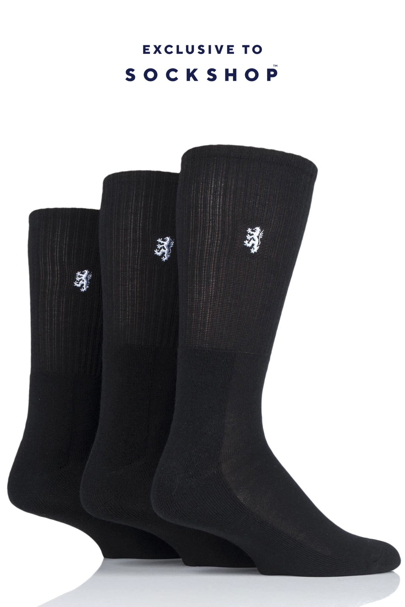 3 Pair Bamboo Cushioned Sports Socks Exclusive To SockShop Men's - Pringle