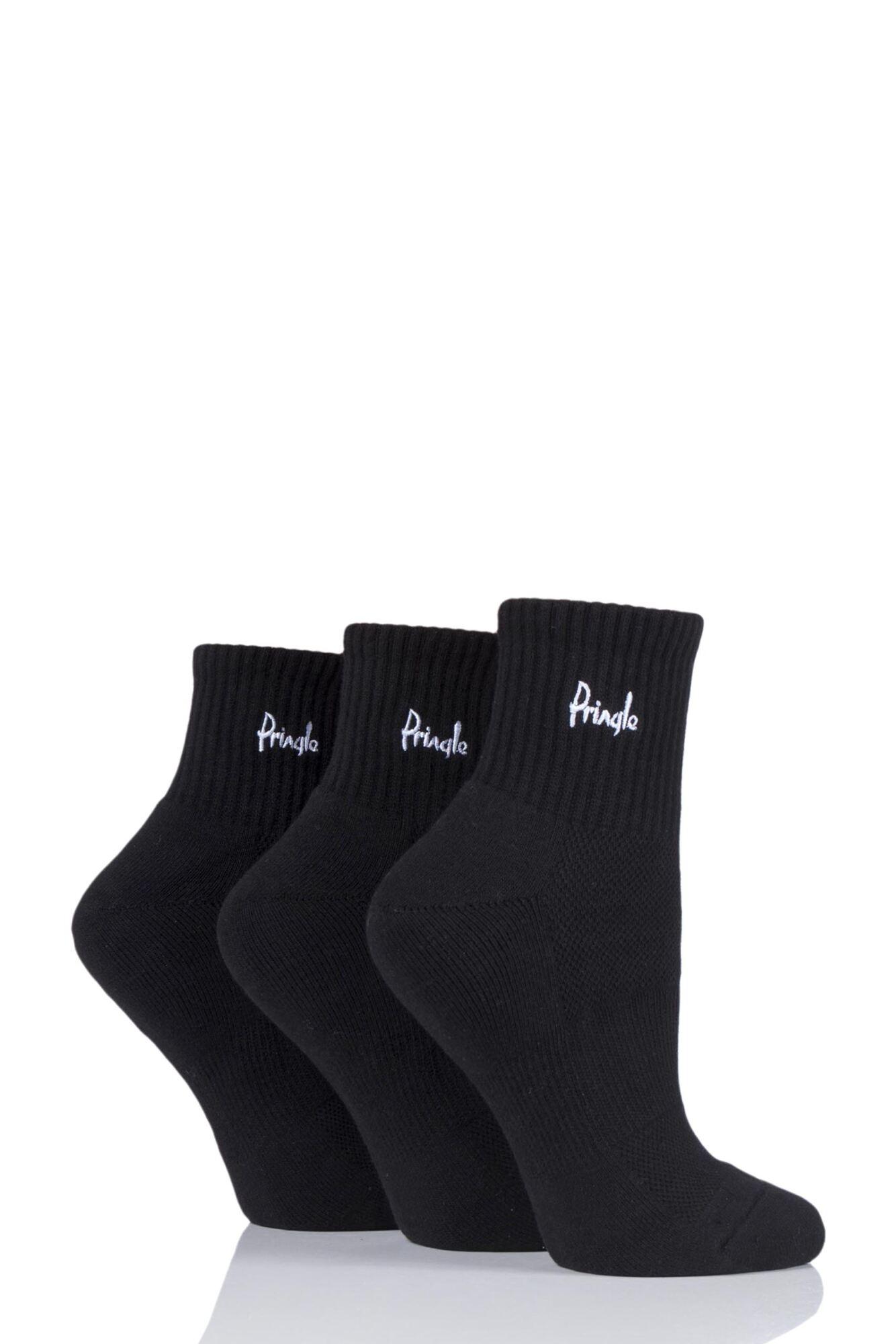 Ladies 3 Pair Pringle Lyndsey Cushioned Sport Socks